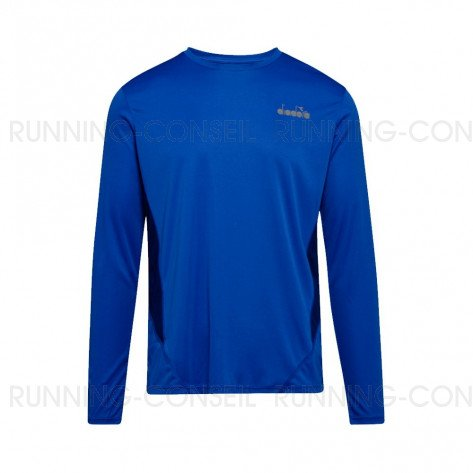 DIADORA T-SHIRT MANCHES LONGUES X-RUN HOMME | BLUE PERSIA | Collection Printemps-Été 2019